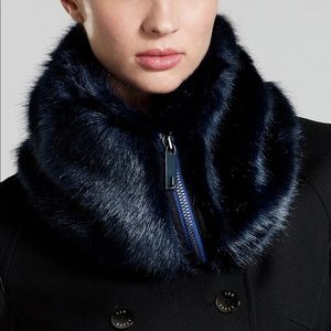 Ted Baker zip high neck navy faux fur collar